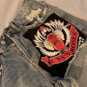 Guns N Roses patch Jean shorts
